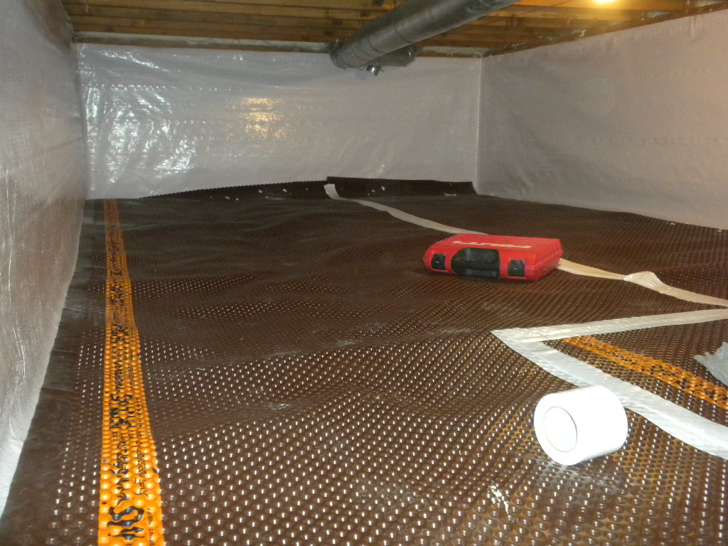 crawl space drainage matting encapsulation