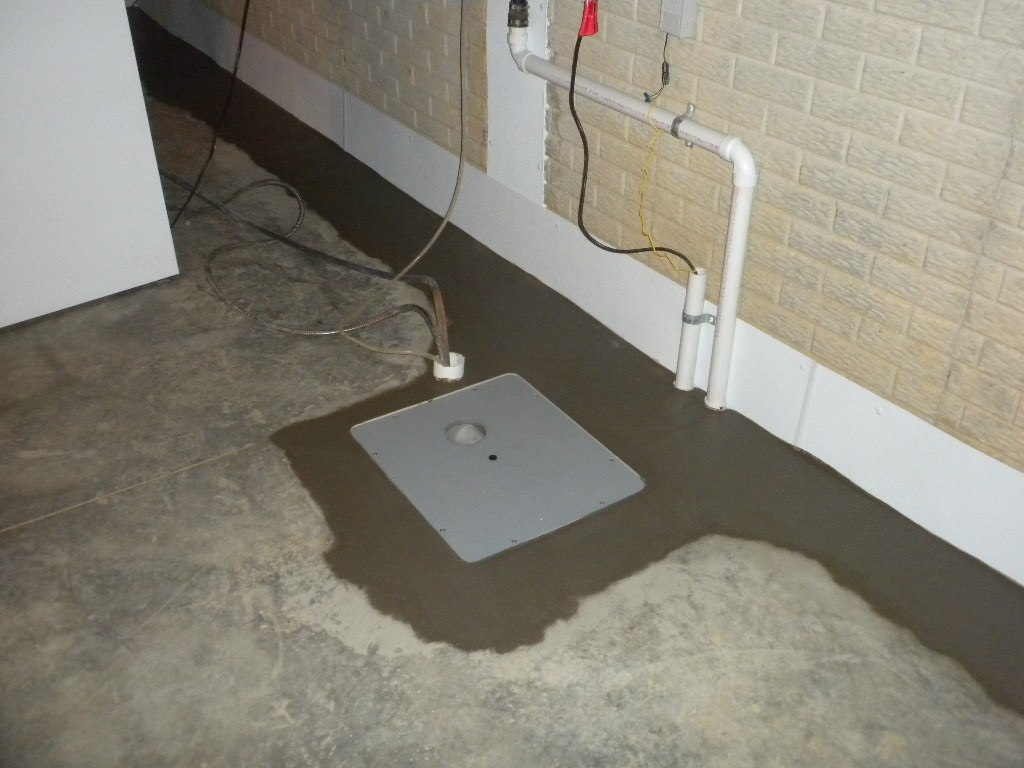 Square Sump Pump Basin Installed